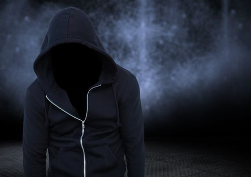 Anonymous criminal against dark background