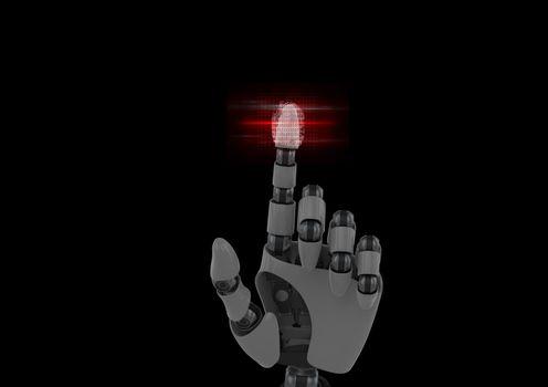 robotic fingerprint scan with red flares