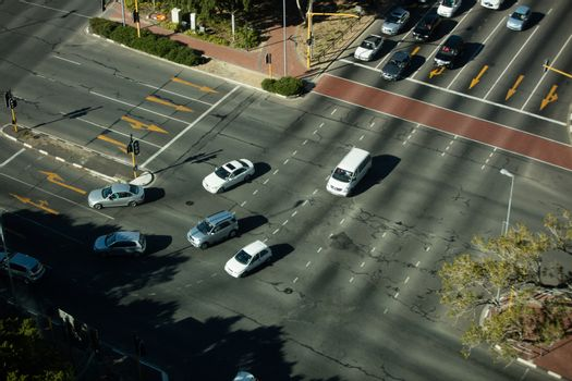 High angle view of road intersection