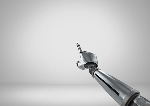 Android Robot hand pointing with grey background