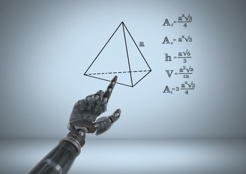 Android hand pointing at equations graphic drawings