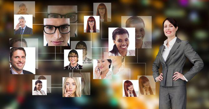 Businesswoman with portrait graphics