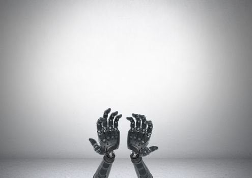 Android Robot hands open with grey background