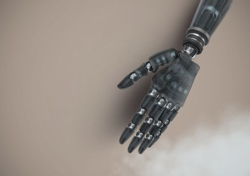 Android Robot hand with brown background