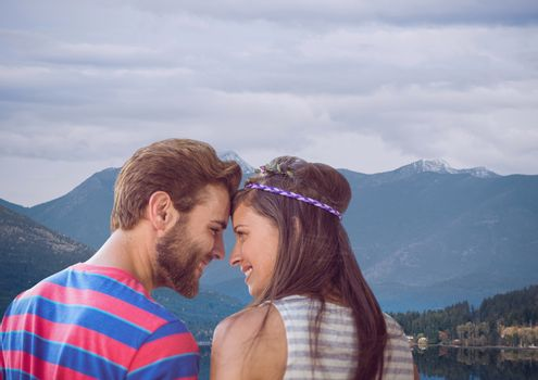 Digital composite of travel mountain.couple on the lake