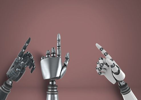 Android Robot hands pointing with brown background