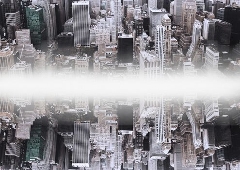 up side down city.mirror effect with white flares in the middle of two cities