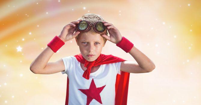 Super hero wearing goggles