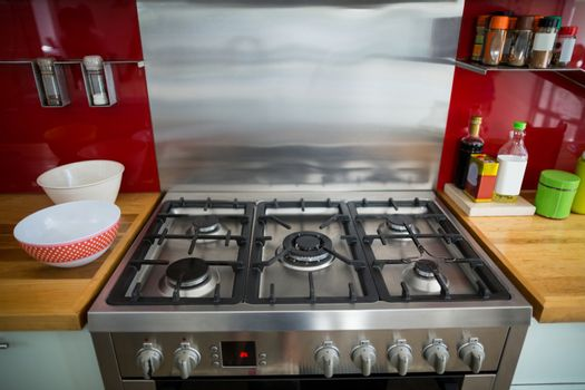 Stove in modern kitchen