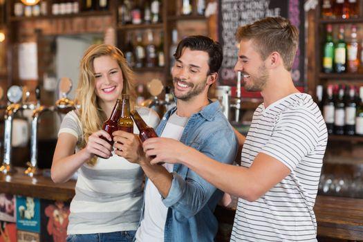 Friends toasting beer bottles at pub