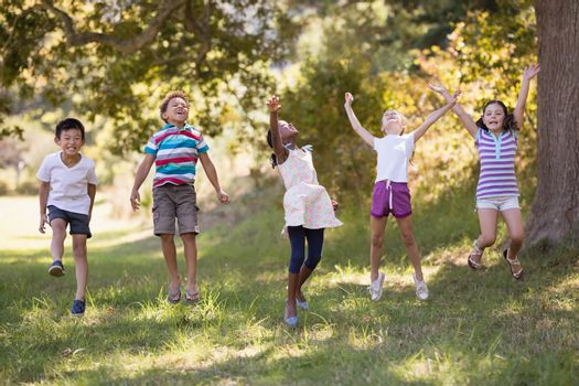 Friends jumping on grassy field in forest