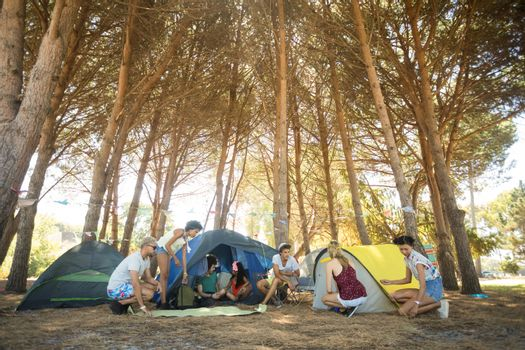 Friends camping at campsite