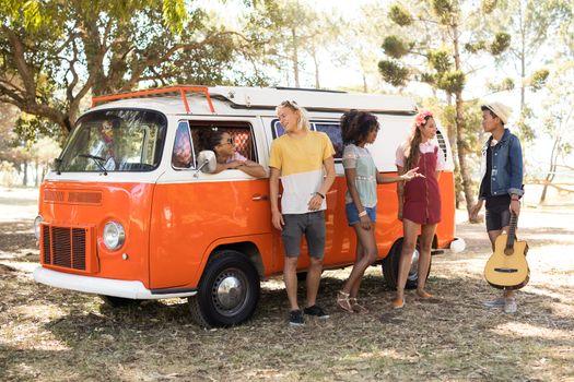 Friends by camper van