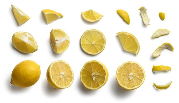 Set of lemon slices on a white background. The view from the top.