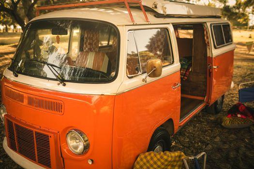 Camper van parked at campsite