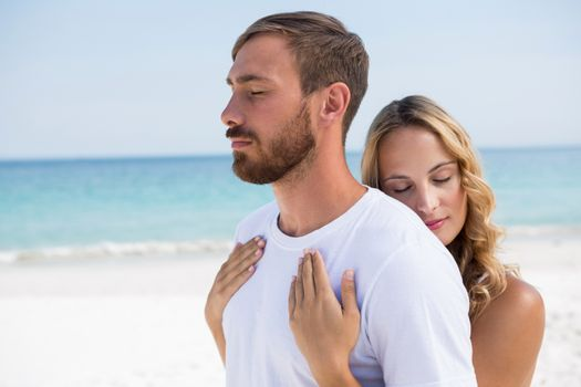 Close up of affectionate couple at beach
