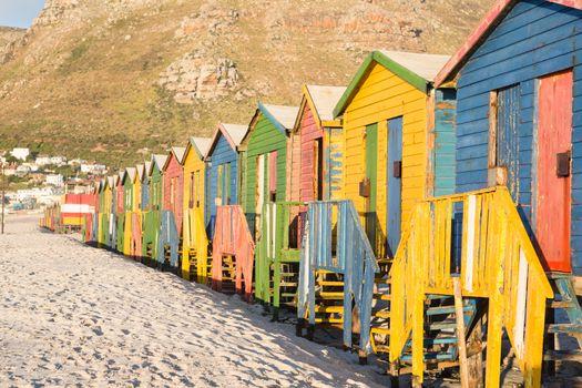 Multi colored Beach huts on sand