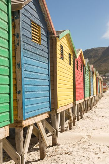 Close up of wooden huts on sand against clear sky