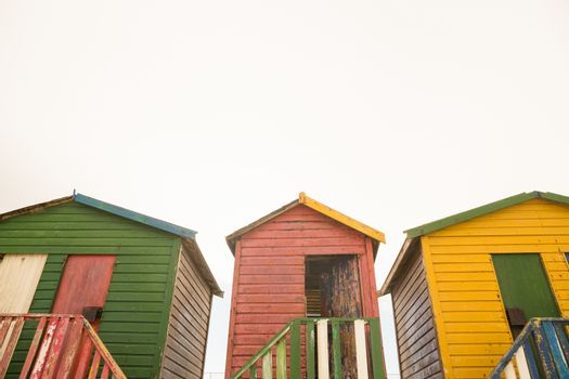 Low angle view of wooden beach huts