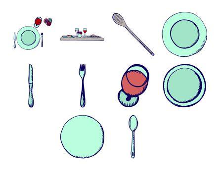 Vector set of tableware needful