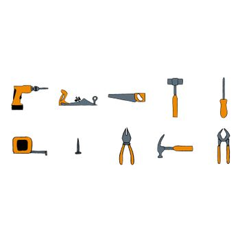 Vector icon set of carpentry tools