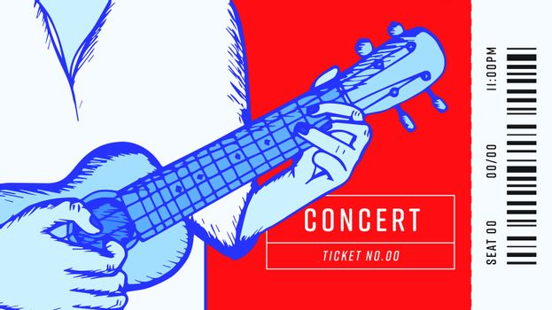 Concert pass with text