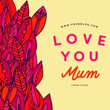 Mothers day card with love you mum message