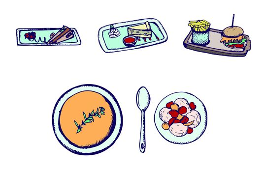 Vector set of junk food and deserts