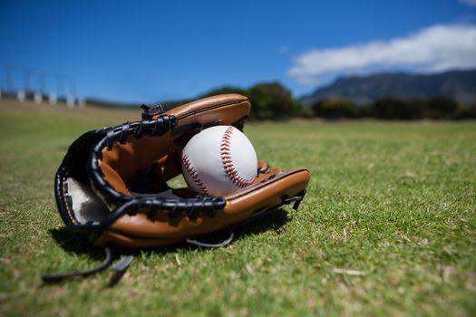 Close-up of baseball and glove
