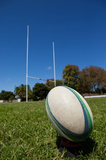 Rugby ball against post on grassy field