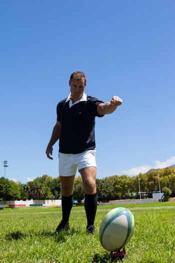 Rugby player kicking ball on grassy field