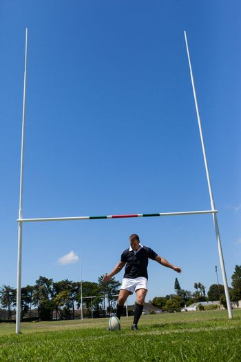 Rugby player making goal on grassy field