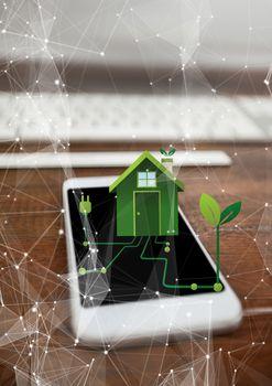 renewable energy house on phone