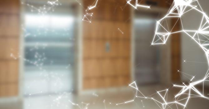 White network against blurry elevators