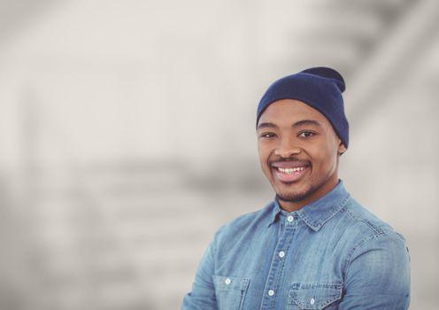 Portrait of smiling man wearing knit hat