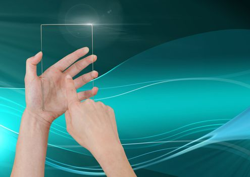 Hand Touching Glass Screen with abstract waves and curves