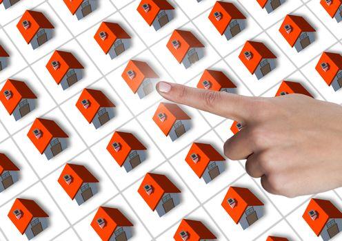 Hand touching choosing a home property