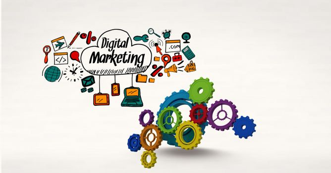 Digital composite image of gears by digital marketing sign surrounded by icons