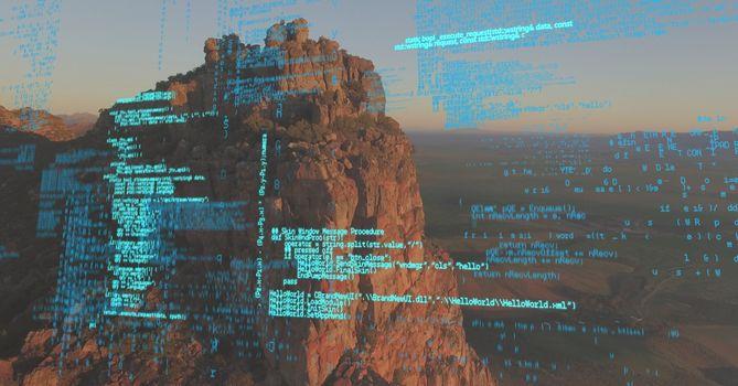 Blue code against cliff