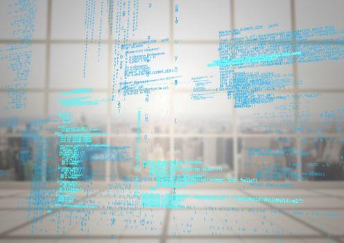 Blue code against blurry window