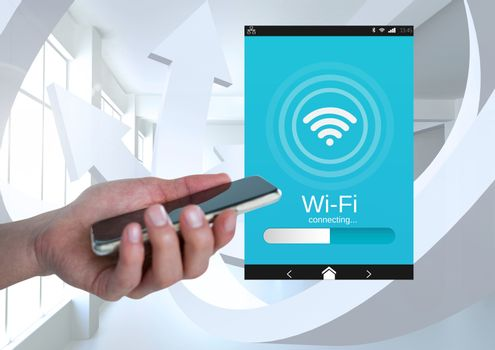 Hand holding a mobile phone and a Wi-Fi App Interface
