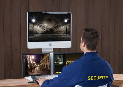 security guard with his technology