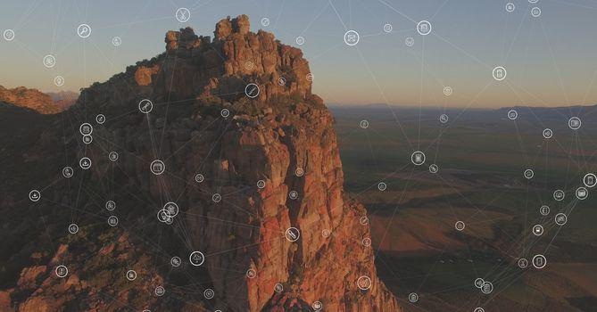 White network against cliff