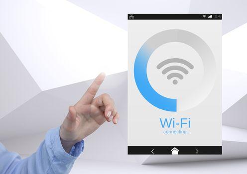 Hand touching a Wi-Fi App Interface minimal background