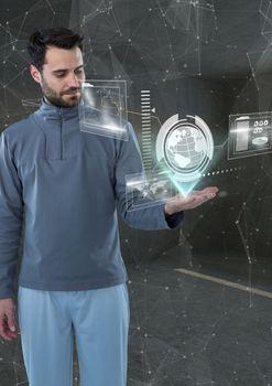 futuristic room interface, world. Futuristic man