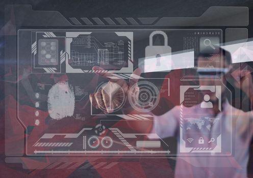 futuristic room interface, man with futuristic glasses