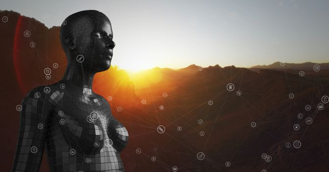 White network against black female AI and mountain and sunset