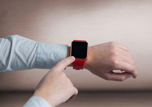Businessman touching smart watch