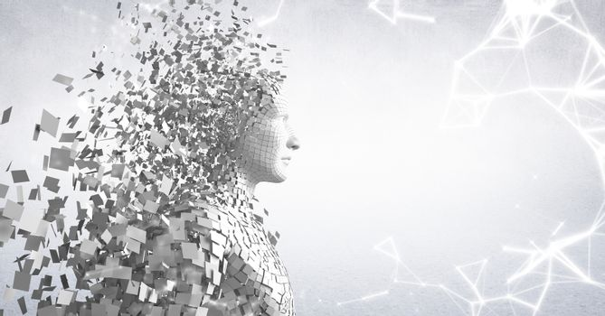 White network against white male AI and white background