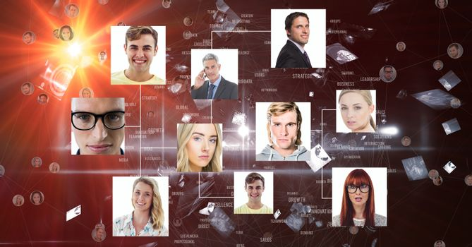 Digitally generated image of business portraits